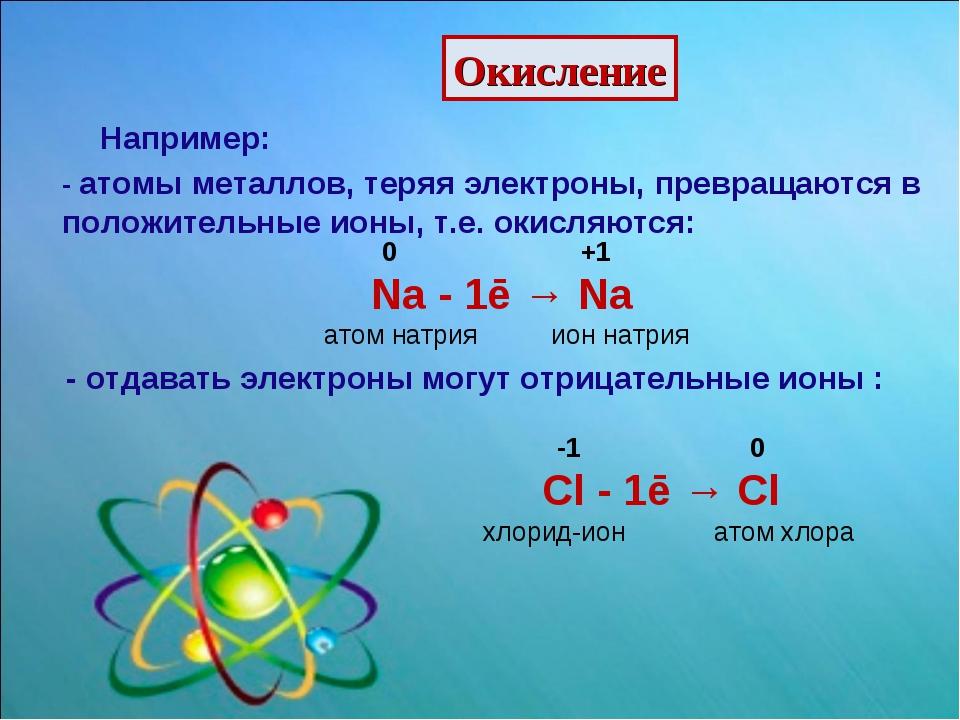 Окисление Например: - атомы металлов, теряя электроны, превращаются в положит...