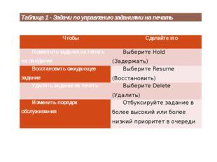Таблица 1 - Задачи по управлению заданиями на печать Чтобы Сделайте это Помес