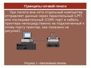 Принципы сетевой печати При печати вне сети отдельный компьютер отправляет да