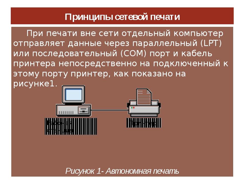 Принципы сетевой печати При печати вне сети отдельный компьютер отправляет да...