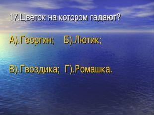 17.Цветок на котором гадают? А).Георгин; Б).Лютик; В).Гвоздика; Г).Ромашка.