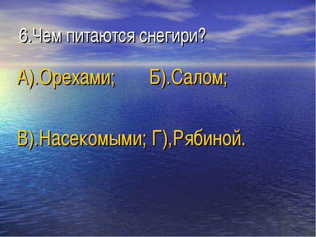 6.Чем питаются снегири? А).Орехами; Б).Салом; В).Насекомыми; Г),Рябиной.