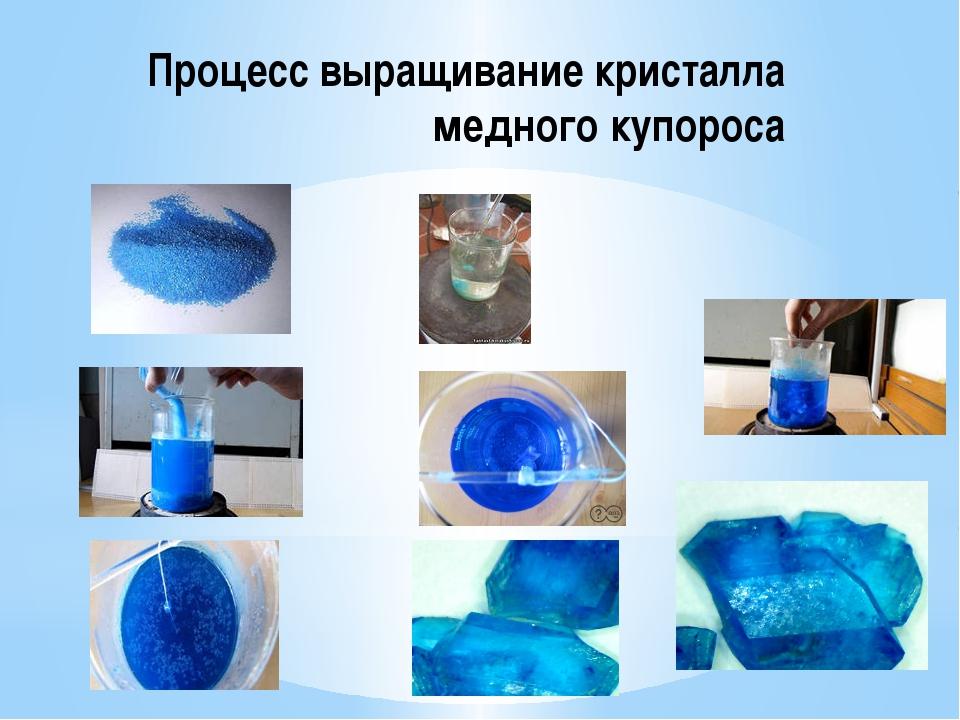 Процесс выращивание кристалла медного купороса