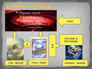Три поколения богов ХАОС ГЕЯ - ЗЕМЛЯ УРАН - НЕБО 2 ТИТАНЫ И ТИТАНИДЫ 1 КРОНОС