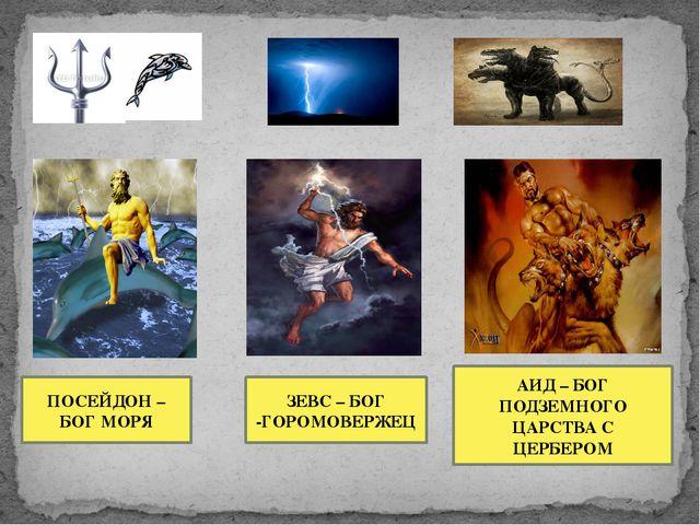 ПОСЕЙДОН – БОГ МОРЯ ЗЕВС – БОГ -ГОРОМОВЕРЖЕЦ АИД – БОГ ПОДЗЕМНОГО ЦАРСТВА С Ц...