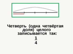 Четверть (одна четвёртая доля) целого записывается так: 1 4