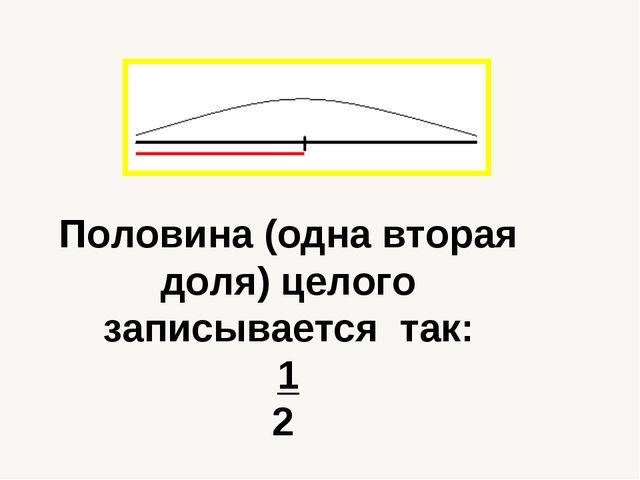 Половина (одна вторая доля) целого записывается так: 1 2