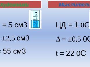 Художники Мыслители ЦД = 5 см3 Δ = ±2,5 см3 V = 55 см3 ЦД = 1 0C Δ = ±0,5 0C