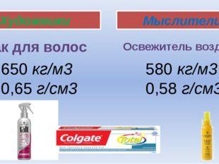 Художники Мыслители Лак для волос Освежитель воздуха 650 кг/м3 0,65 г/см3 580