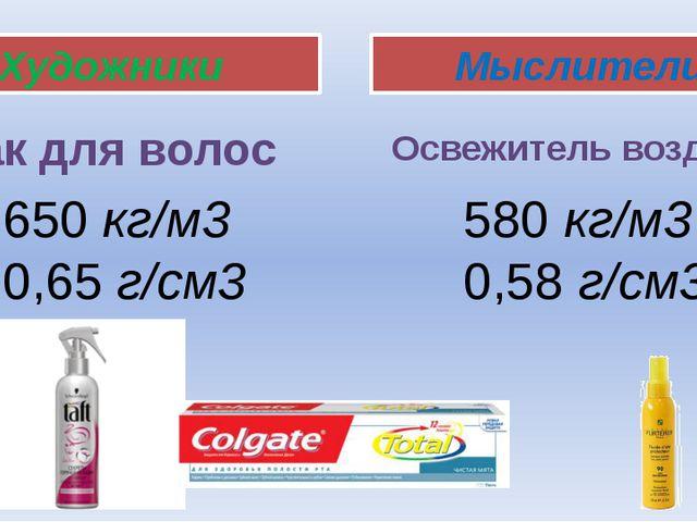 Художники Мыслители Лак для волос Освежитель воздуха 650 кг/м3 0,65 г/см3 580...