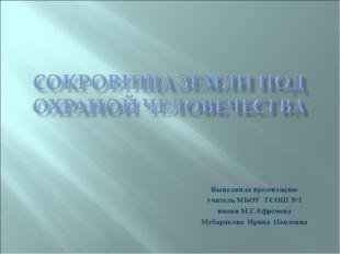 Выполнила презентацию учитель МБОУ ТСОШ №1 имени М.Г.Ефремова Мубаракова Ирин