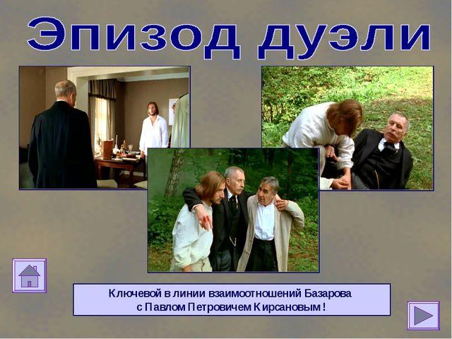 Ключевой в линии взаимоотношений Базарова с Павлом Петровичем Кирсановым !