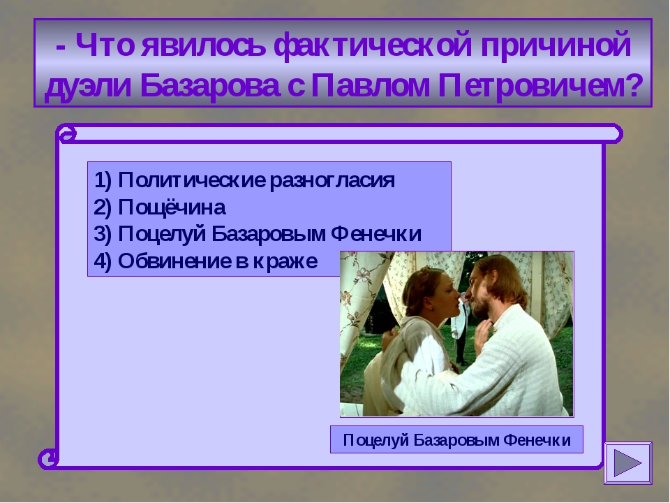- Что явилось фактической причиной дуэли Базарова с Павлом Петровичем? 1) По...