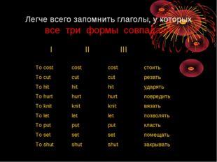 Легче всего запомнить глаголы, у которых все три формы совпадают IIIIII To