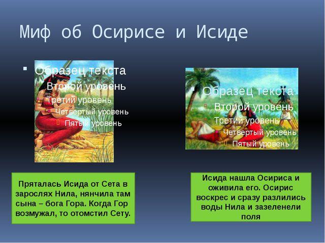 Миф об Осирисе и Исиде Пряталась Исида от Сета в зарослях Нила, нянчила там с...
