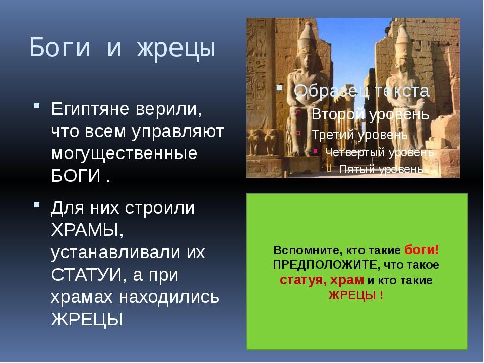 Боги и жрецы Египтяне верили, что всем управляют могущественные БОГИ . Для ни...