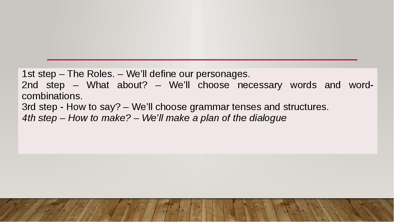 1ststep – The Roles. – We'll define our personages. 2ndstep – What about? –...