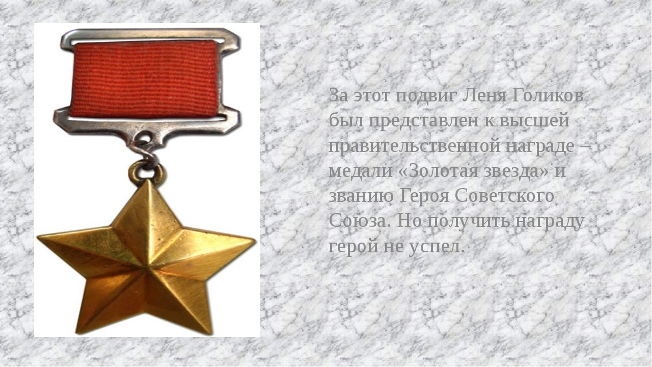 За этот подвиг Леня Голиков был представлен к высшей правительственной наград...