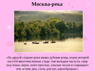 «На другой стороне реки видна дубовая роща, подле которой пасутся многочислен