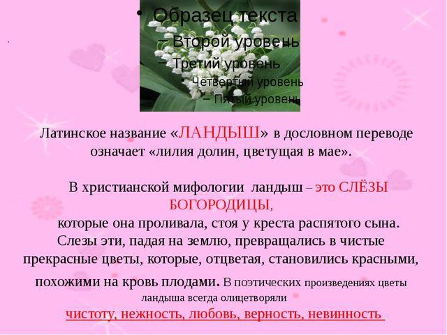 Латинское название «ЛАНДЫШ» в дословном переводе означает «лилия долин, цвет...