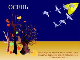 ОСЕНЬ Вот птицы потянулись на юг, листва стала опадать с деревьев, значит при