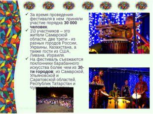 За время проведения фестиваля в нем приняли участие порядка 30 000 человек.