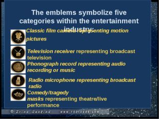 The emblems symbolize five categories within the entertainment industry: Cla