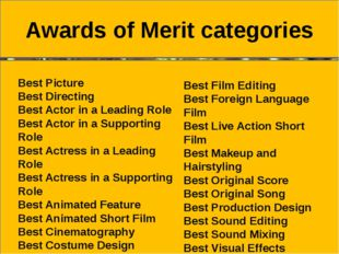 Awards of Merit categories Best Picture Best Directing Best Actor in a Leadi