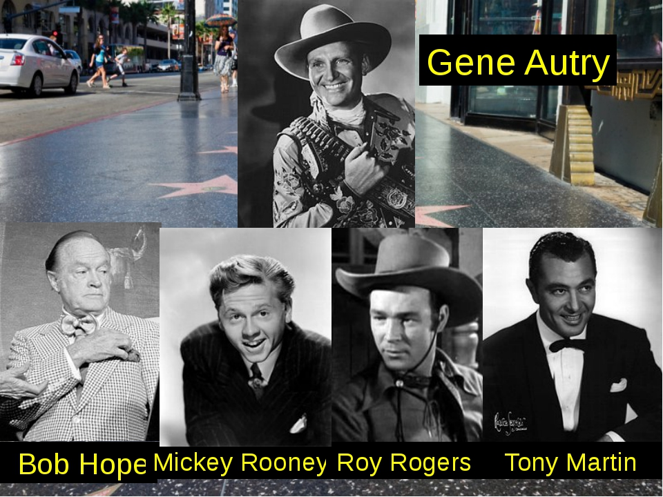 Bob Hope Mickey Rooney Roy Rogers Tony Martin Gene Autry
