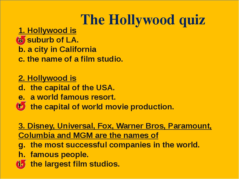 The Hollywood quiz 1. Hollywood is suburb of LA. a city in California the na...