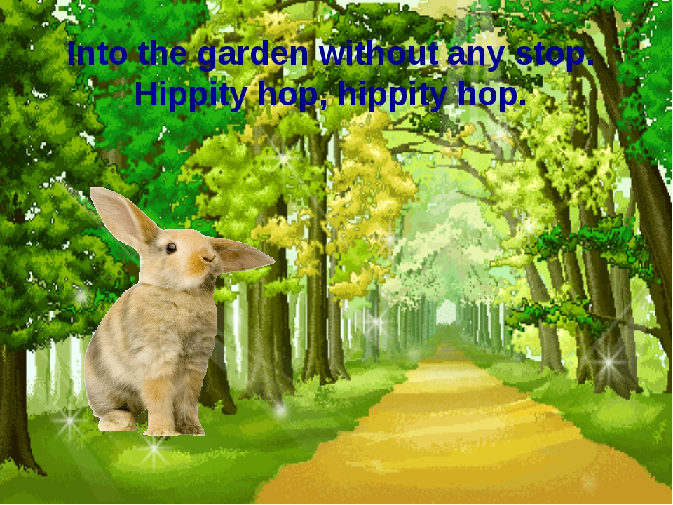 Into the garden without any stop. Hippity hop, hippity hop.