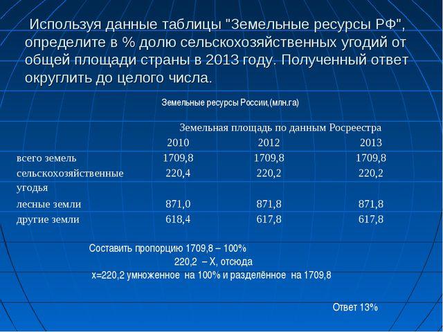"""Используя данные таблицы """"Земельные ресурсы РФ"""", определите в % долю сельско..."""