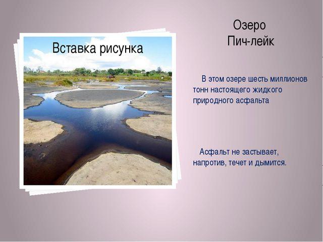 Озеро Пич-лейк В этом озере шесть миллионов тонн настоящего жидкого природног...