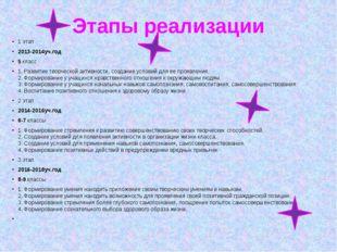 Этапы реализации 1 этап 2013-2014уч.год 5 класс 1. Развитие творческой активн
