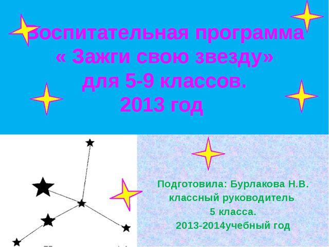 Воспитательная программа « Зажги свою звезду» для 5-9 классов. 2013 год Подго...