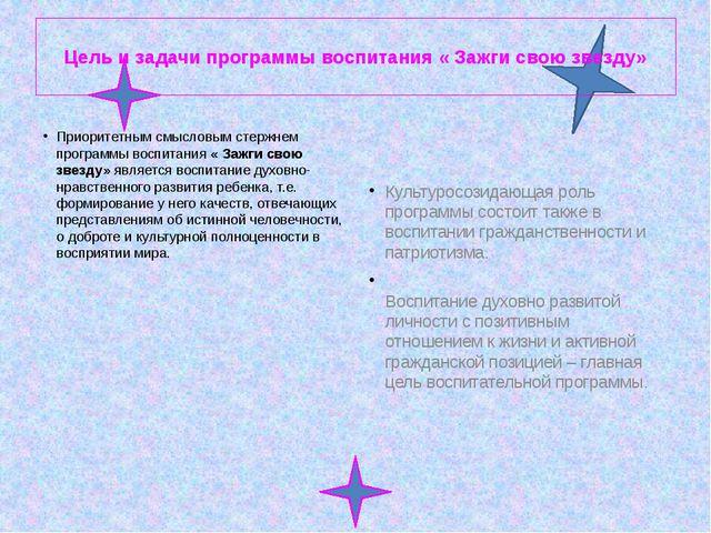 Цель и задачи программы воспитания « Зажги свою звезду» Приоритетным смыслов...
