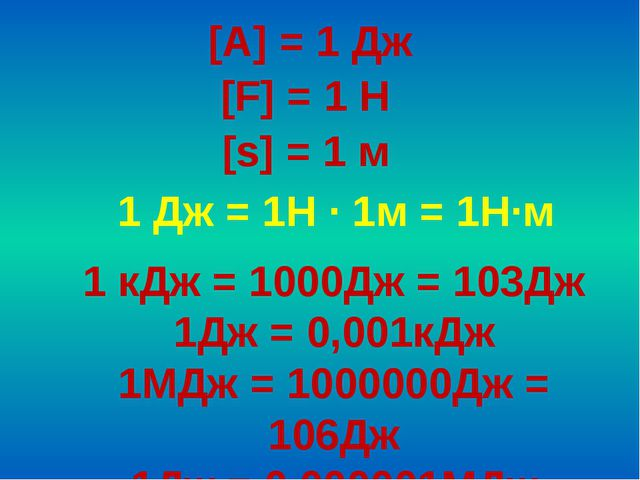 [A] = 1 Дж [F] = 1 Н [s] = 1 м 1 Дж = 1H ∙ 1м = 1Н∙м 1 кДж = 1000Дж = 103Дж 1...
