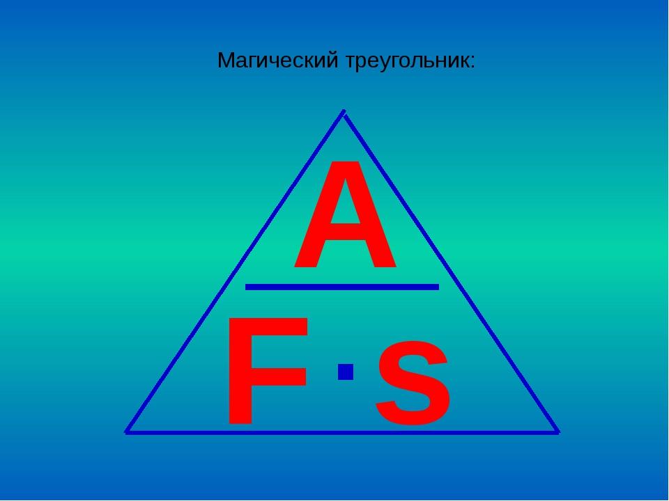 Магический треугольник: A F s ∙