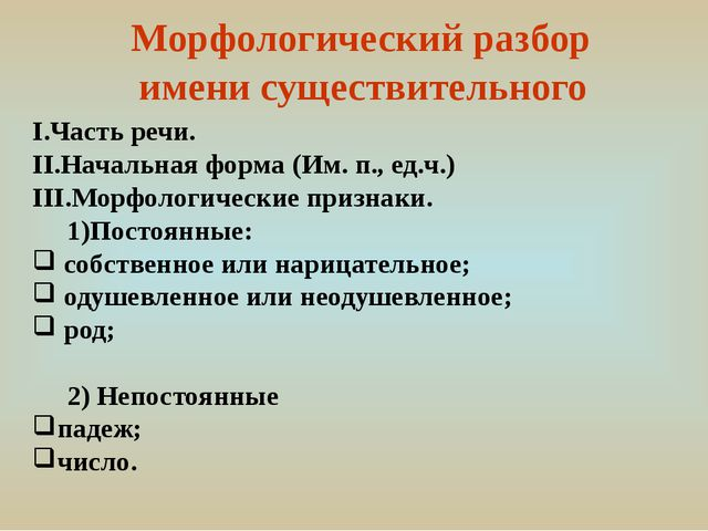 Морфологический разбор имени существительного I.Часть речи. II.Начальная фор...