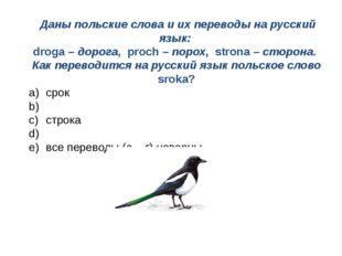 Даны польские слова и их переводы на русский язык: droga – дорога, proch – п