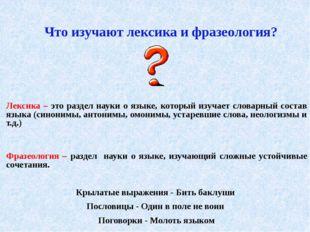 Лексика – это раздел науки о языке, который изучает словарный состав языка (