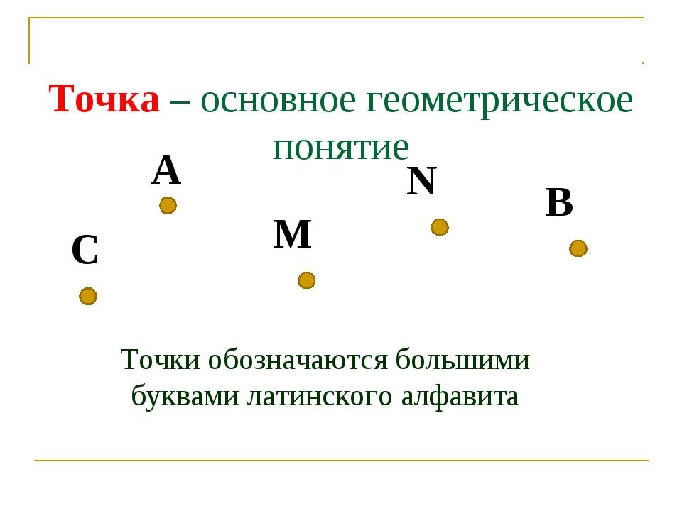 Точка – основное геометрическое понятие A Точки обозначаются большими буквам...