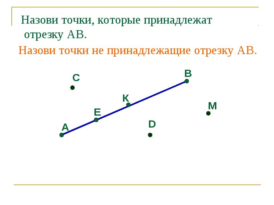 А Е К В С D М Назови точки, которые принадлежат отрезку АВ. Назови точки не п...
