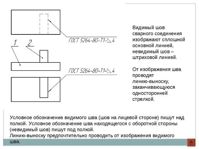 Видимый шов сварного соединения изображают сплошной основной линией, невидимы...