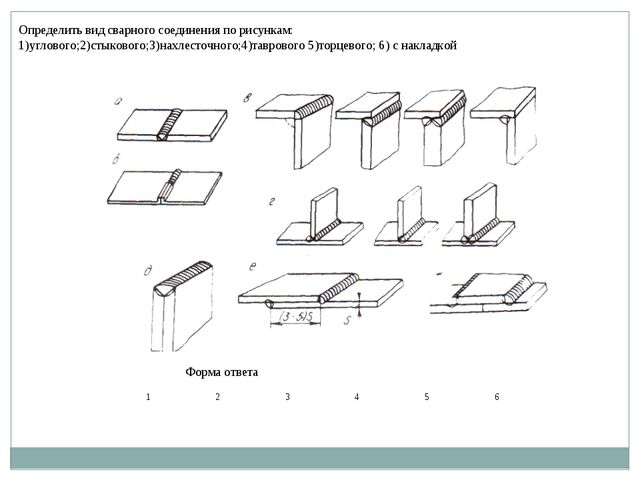 Определить вид сварного соединения по рисункам: 1)углового;2)стыкового;3)нахл...