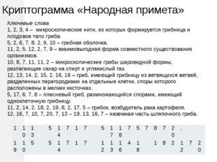 Криптограмма «Народная примета» Ключевые слова 1, 2, 3, 4 – микроскопические