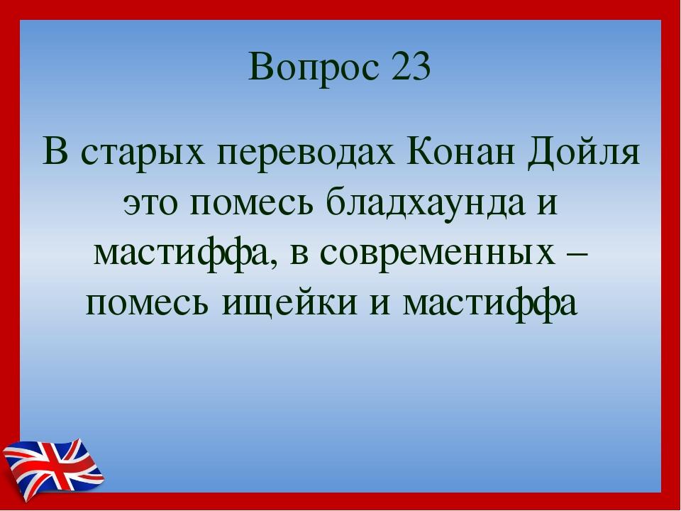 Вопрос 23 В старых переводах Конан Дойля это помесь бладхаунда и мастиффа, в...