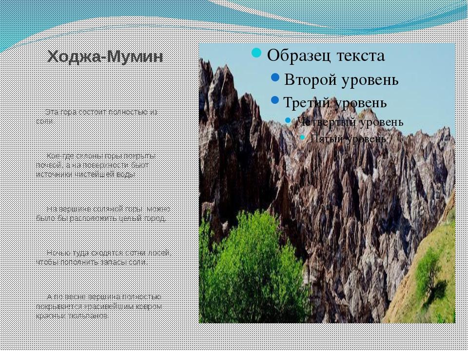 Ходжа-Мумин Эта гора состоит полностью из соли. Кое-где склоны горы покрыты п...
