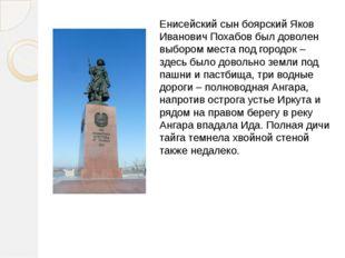 Енисейский сын боярский Яков Иванович Похабов был доволен выбором места под г