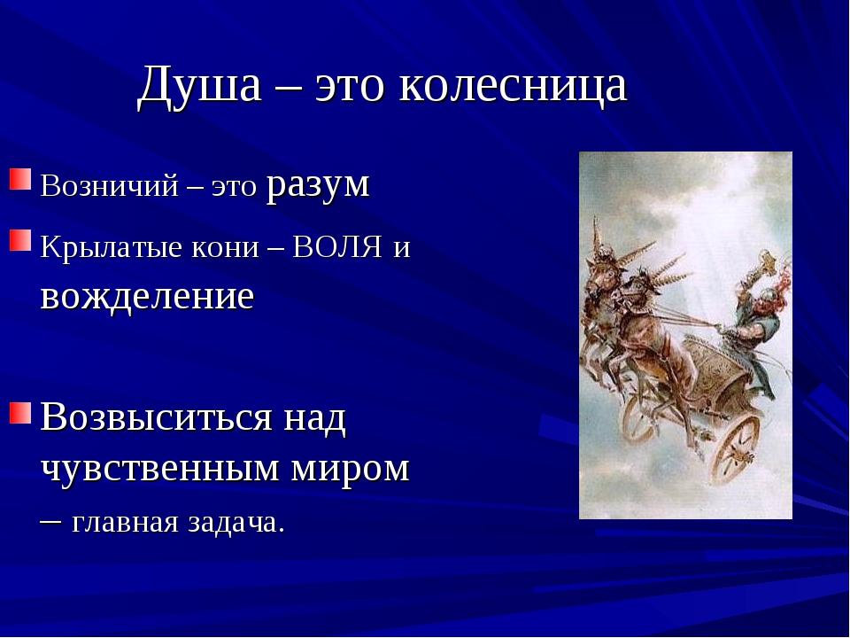 Душа – это колесница Возничий – это разум Крылатые кони – ВОЛЯ и вожделение В...